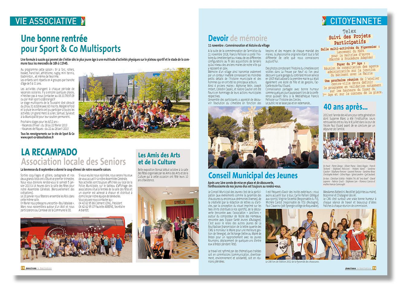 Mairie de la Bouilladisse - Revu de la Mairie - Conception, mise en page et fabrication en 3 000 exemplaires - 32 pages